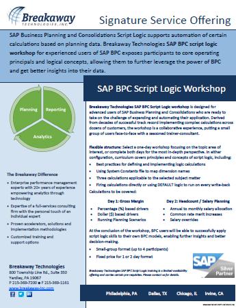 SAP BPC Script Logic Workshop
